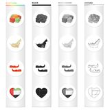 Oriental sweets, map of the territory, Arab Khussa, heart with Arabic symbols. United Arab Emirates set collection icons. In cartoon black monochrome outline Stock Photos