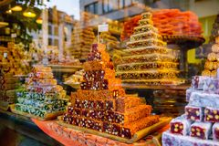 Oriental sweets. At the market stock image