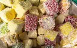 Oriental sweets. On a metal dish close up royalty free stock image