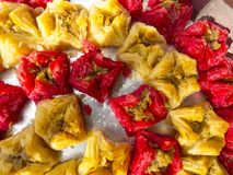 Oriental sweets. On a metal dish close up royalty free stock images