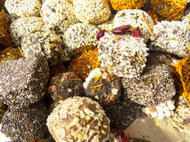 Oriental sweets. On a metal dish close up royalty free stock photography