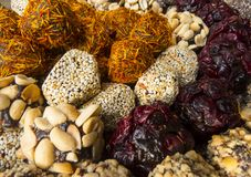 Oriental sweets. On a metal dish close up stock photography