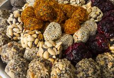 Oriental sweets. On a metal dish close up stock images