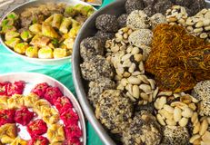 Oriental sweets. On a metal dish close up stock image