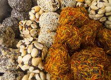 Oriental sweets. On a metal dish close up royalty free stock photos