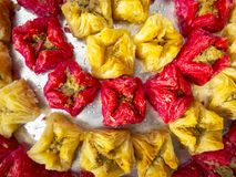 Oriental sweets. On a metal dish close up stock photos