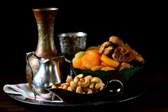 Oriental sweets raisins, dried apricots, figs and cashew nuts. Stock Image