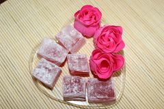 Oriental sweets from the rose. A wonderful treat for family and guests royalty free stock images