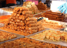 Oriental sweets. Sale of oriental sweets in one of Tel Aviv's confectionery royalty free stock photography