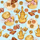 Oriental sweets seamless background Royalty Free Stock Image
