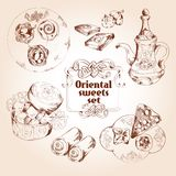 Oriental sweets sketch set Stock Image