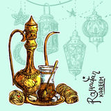 Oriental sweets and teapot. East tea illustration. Oriental sweets and teapot. Good for invitations, cards, postcards Royalty Free Stock Images