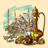 Oriental sweets and teapot. East tea illustration with Istanbul on background. Oriental sweets and teapot. Good for invitations, cards, postcards Stock Photo