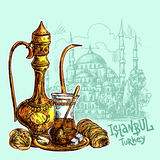 Oriental sweets and teapot. East tea illustration with Istanbul on background. Oriental sweets and teapot. Good for invitations, cards, postcards Stock Image