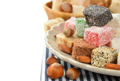 Oriental sweets. On a white background royalty free stock image