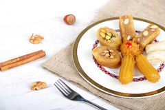 Oriental Sweets. On White Wood Background stock photos