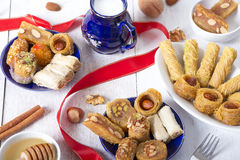 Oriental Sweets. On White Wooden Table royalty free stock images