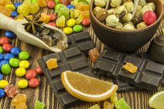 Oriental sweetsis a delicious and healthy treat. Useful and tasty sweets with bazaars east royalty free stock photo