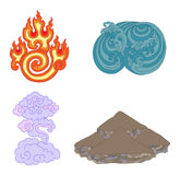 Oriental symbols of elements. Four oriental symbols of elements - fire, water, the ground, air Stock Image