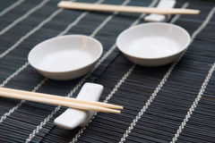 Oriental table setting. A table setting for a Japanese style Stock Photography