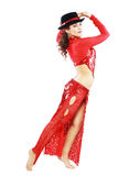 Oriental Tango dancer. Elegance Oriental Tango dancer girl in action. Isolated on white Stock Photography