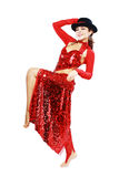 Oriental Tango dancer. Elegance Oriental Tango dancer girl in action. Isolated on white Royalty Free Stock Photography