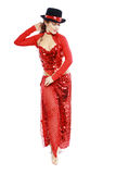 Oriental Tango dancer. Elegance Oriental Tango dancer girl in action. Woman in red dress and hat Stock Images