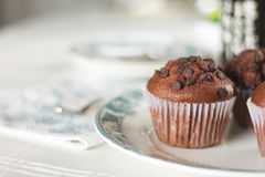 Oriental Tea with chocolate muffins. On elegant porcelain dish Stock Photography