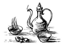 Oriental tea engraving. Oriental antique tea set. Teapot, cups bowls, sugar lumps. Imitation of engraving. Scratch board style imitation. Hand drawn sketch image royalty free illustration