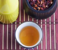 Oriental tea leafs and infusion still life composition Royalty Free Stock Photos