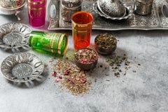 Oriental tea table dishes glasses. Holidays food Stock Photo