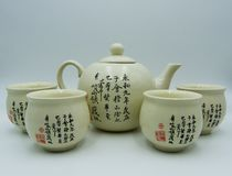 Oriental teapot, one cup, white background stock image