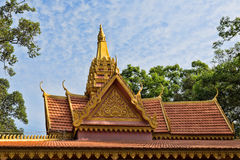 Oriental temple decorated with a golden roof Royalty Free Stock Image