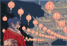 Oriental temple lantern decorated. Woman in red kimono standing under the lights of oriental temple Royalty Free Stock Images