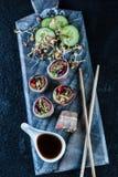 Oriental teriyaki beef bites on marble board Stock Image