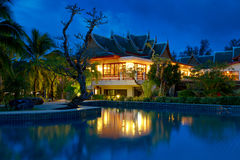 Oriental Thai architecture at night Stock Image