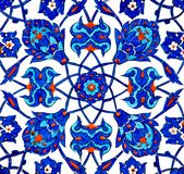 Oriental Tiles. Close up photo of handmade Turkish tiles, in Rustempasa Mosque, Istanbul, Turkey Stock Photo