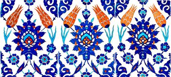 Oriental Tiles. Close up photo of original handmade Turkish tiles, in Rustempasa Mosque, Istanbul, Turkey Stock Images