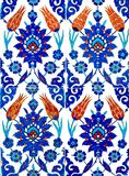 Oriental Tiles. Close up photo of handmade Turkish tiles, in Rustempasa Mosque, Istanbul, Turkey Stock Illustration