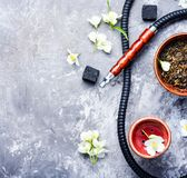 Oriental tobacco hookah with floral jasmine aroma Royalty Free Stock Images