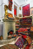 The interior of the shop with national handmade carpets. Stock Images