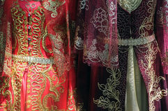 Oriental traditional dresses. Oriental traditional Turkish woman dresses on display stock photos