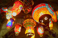 Oriental traditional lamps and lanterns in the Grand Bazar Kapal. Photogtaphed in Grand Bazar Kapalicarsi in Istanbul, Tureky in April 2005 in April 2005 Royalty Free Stock Images