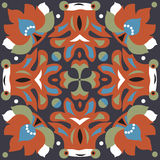 Oriental traditional lotus flower goldfish square pattern Royalty Free Stock Photo