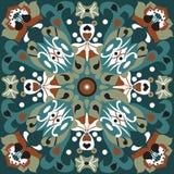 Oriental traditional lotus flower goldfish square pattern Stock Photos