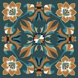 Oriental traditional lotus flower goldfish square pattern Royalty Free Stock Images