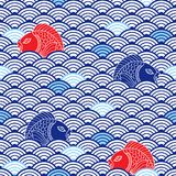 Oriental traditional pattern with catfish and waves. Blue, res and white colors. Colorful nautical background. Asian ornament Stock Images