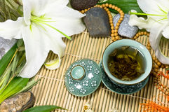 Oriental traditional tea ceremony still life. Royalty Free Stock Photo
