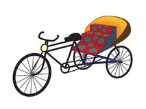 Oriental tricycle rickshaw cab, vector Royalty Free Stock Photography