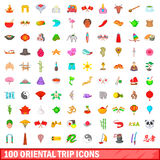 100 oriental trip icons set, cartoon style. 100 oriental trip icons set in cartoon style for any design vector illustration Royalty Free Stock Photography
